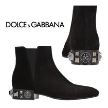 Dolce & Gabbana Casual Style Suede Studded Plain Ankle & Booties Boots