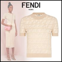 FENDI Crew Neck Monogram Rib Cotton Short Sleeves T-Shirts