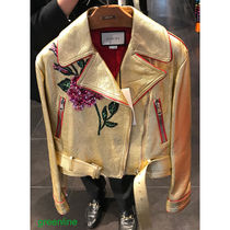 GUCCI Flower Patterns Leather With Jewels Jackets
