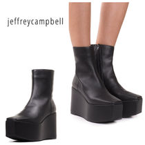 Jeffrey Campbell Square Toe Platform Plain Leather High Heel Boots