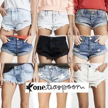 One Teaspoon Short Plain Cotton Denim & Cotton Shorts