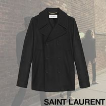 Saint Laurent Short Wool Plain Peacoats Coats