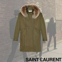 Saint Laurent Fur Plain Long Parkas