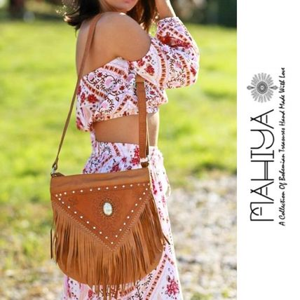 Casual Style Studded Leather Handmade Fringes Shoulder Bags