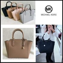 Michael Kors A4 2WAY Plain Leather Elegant Style Totes