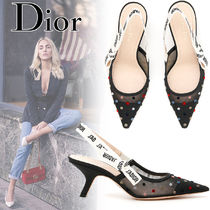 Christian Dior JADIOR Dots Blended Fabrics Street Style Leather Block Heels