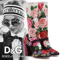 Dolce & Gabbana Flower Patterns Plain Toe Block Heels Elegant Style