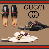 GUCCI Stripes Heart Square Toe Platform Casual Style Leather