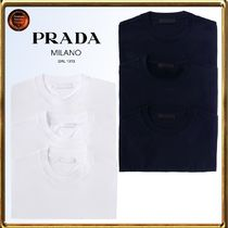 PRADA Crew Neck Plain Cotton Short Sleeves Crew Neck T-Shirts