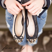 Leopard Patterns Street Style Leather Ballet Shoes