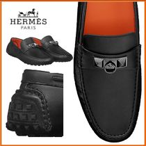 HERMES Driving Shoes Blended Fabrics Plain Leather Home Party Ideas