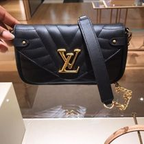 Louis Vuitton Blended Fabrics 2WAY Plain Leather Elegant Style Crossbody