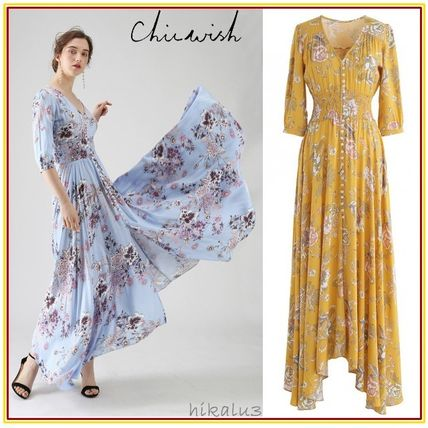 Flower Patterns Maxi V-Neck Cropped Long Party Style Dresses