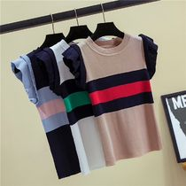 Stripes Casual Style U-Neck Medium Short Sleeves Sweaters