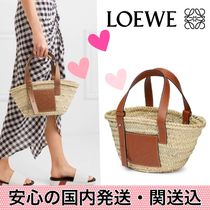 LOEWE Blended Fabrics Bi-color Leather Straw Bags