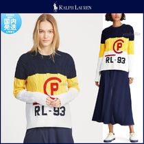 Ralph Lauren Crew Neck Cable Knit Casual Style Long Sleeves Cotton