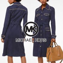 Michael Kors Casual Style Suede Studded Plain Long Trench Coats