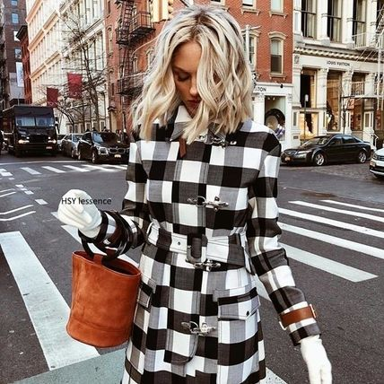 Other Check Patterns Casual Style Wool Street Style Coats