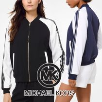 Michael Kors Short Stripes Plain Varsity Jackets