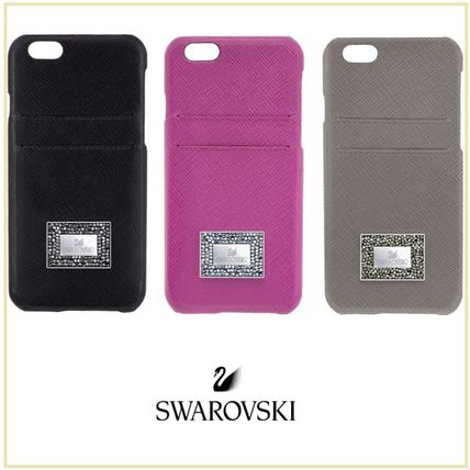 Plain Leather With Jewels Smart Phone Cases