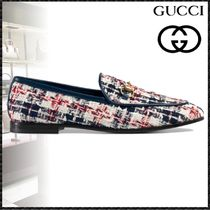 GUCCI Jordaan Other Check Patterns Plain Toe Tweed Blended Fabrics