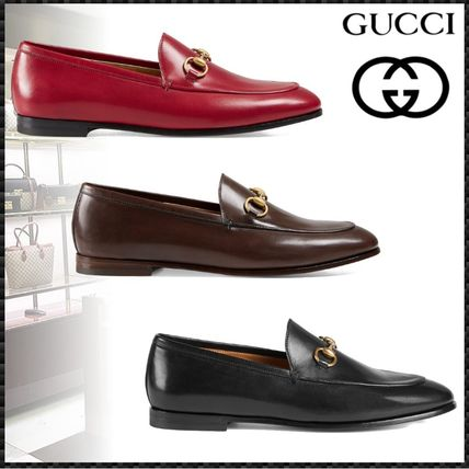5fd4cb47239 ... GUCCI Loafer Plain Toe Blended Fabrics Plain Leather Elegant Style ...