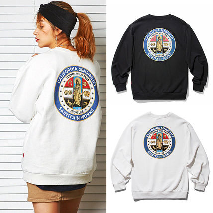 Crew Neck Unisex Street Style Long Sleeves Plain Cotton