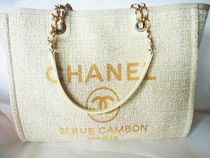 CHANEL DEAUVILLE Casual Style Canvas A4 Totes
