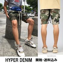 HYPER DENIM Camouflage Cotton Khaki Cargo Shorts