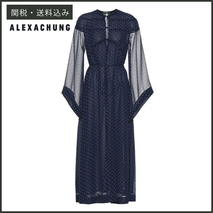 Dots Flared U-Neck Long Sleeves Long Party Style Dresses