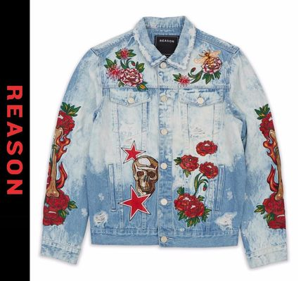 Skull Flower Patterns Denim Street Style Denim Jackets