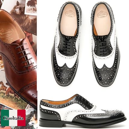 Studded Bi-color Plain Leather Loafer Pumps & Mules
