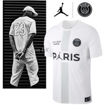 Nike AIR JORDAN Street Style Collaboration Bi-color Cotton Short Sleeves