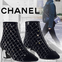 CHANEL Other Check Patterns Leather Ankle & Booties Boots