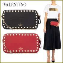 VALENTINO Calfskin Studded Street Style 2WAY Chain Party Style