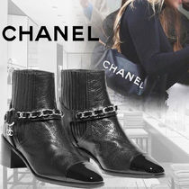 CHANEL Chain Leather Ankle & Booties Boots