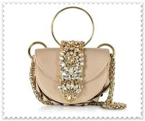 GEDEBE 2WAY Chain Plain Leather With Jewels Elegant Style Handbags