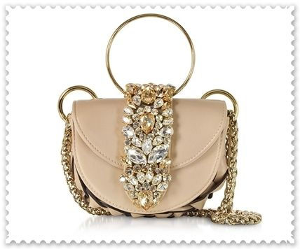 2WAY Chain Plain Leather With Jewels Elegant Style Handbags