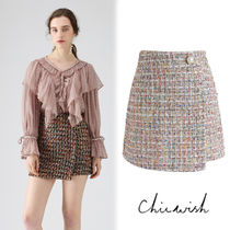 Chicwish Pencil Skirts Short Tweed Plain With Jewels Elegant Style