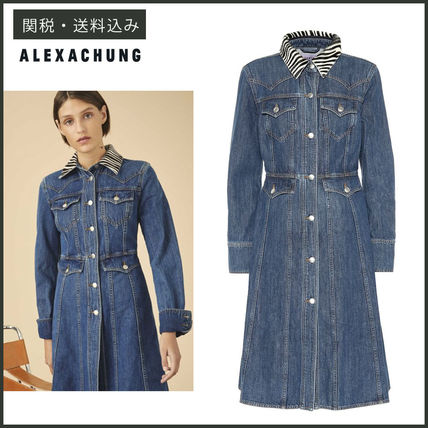 Casual Style Denim Long Sleeves Plain Medium Shirt Dresses