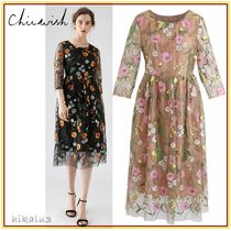 Chicwish Flower Patterns Cropped Medium Party Style Dresses