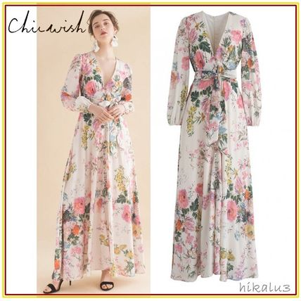 Flower Patterns Maxi V-Neck Long Sleeves Long Party Style