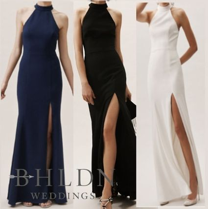 Nylon Sleeveless Boat Neck Plain Long Dresses