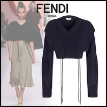 FENDI Rib V-Neck Long Sleeves Cotton Elegant Style Sweaters