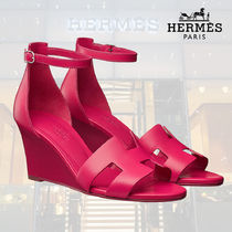 HERMES Open Toe Blended Fabrics Plain Leather Home Party Ideas