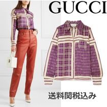 GUCCI Other Check Patterns Silk Long Sleeves Elegant Style