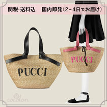 Emilio Pucci Bi-color Plain Straw Bags