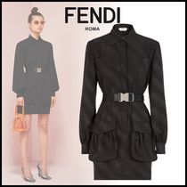 FENDI Short Silk Long Sleeves Elegant Style Dresses