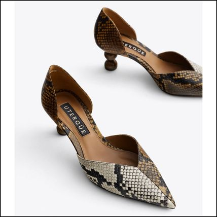 Animal Print Leather D'orsay Pumps with Designed Heels