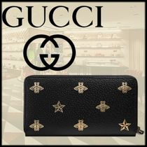 GUCCI Star Other Animal Patterns Leather Long Wallets